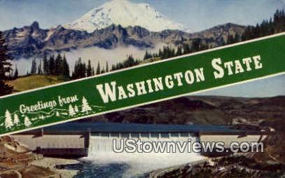 Greetings from, Wash,     ;     Greetings from, WA - Washington WA Postcard