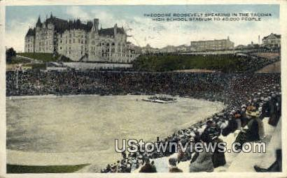 Theodore Roosevelt, Tacoma HS Stadium - Washington WA Postcard