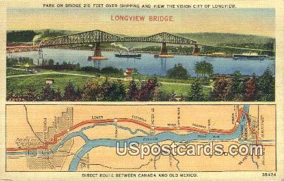 Park on Bridge - Longview Bridge, Washington WA Postcard
