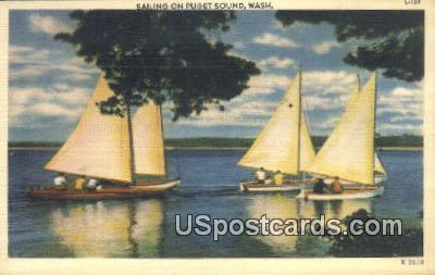 Sailing - Puget Sound, Washington WA Postcard