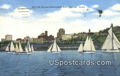 Sailing, Commencement Bay - Tacoma, Washington WA Postcard
