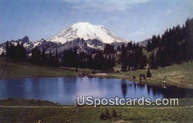 Mt Rainier & Tipsu Lake - Rainier National Park, Washington WA Postcard