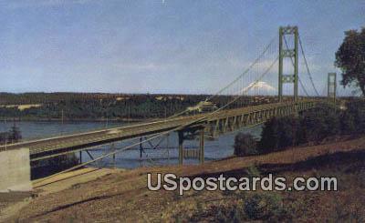 Narrows Bridge - Mt Rainier, Washington WA Postcard