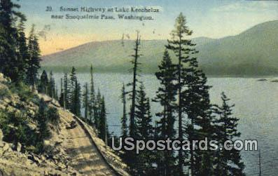 Sunset Highway, Lake Keechelus - Snoqualmie Pass, Washington WA Postcard