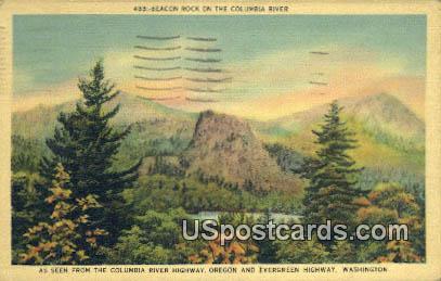 Beacon Rock - Columbia River, Washington WA Postcard