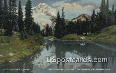 Mt Rainier - Mirror Lake, Washington WA Postcard