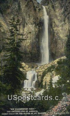 Switzerland of America, Comet Falls - Mt Rainier, Washington WA Postcard