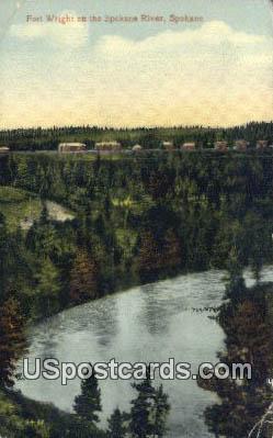 Fort Wright - Spokane River, Washington WA Postcard