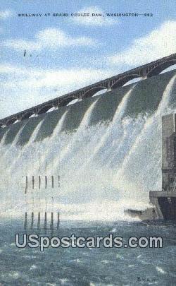 Spillway - Grand Coulee Dam, Washington WA Postcard