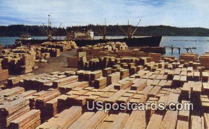 Lumber Awaiting Shipment - Western Washington Postcards, Washington WA Postcard