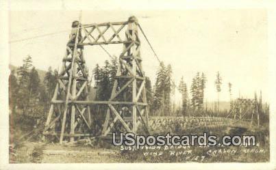 Real Photo - Suspension Bridge - Wind River, Washington WA Postcard