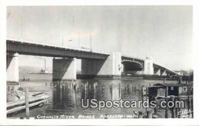 Real Photo - Chehalis River Bridge - Aberdeen, Washington WA Postcard