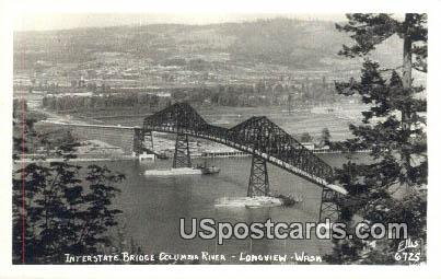 Real Photo - Interstate Bridge - Longview, Washington WA Postcard