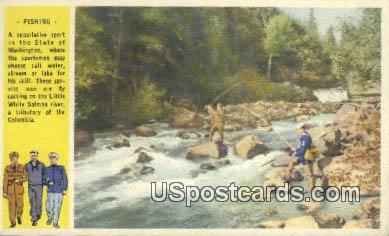 Fishing - Columbia River, Washington WA Postcard