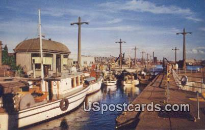 US Government Locks - Lake Union, Washington WA Postcard