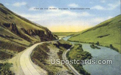 Sunset Highway, WA Postcard      ;      Sunset Highway, Washington