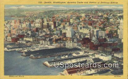 Docks, Business District - Seattle, Washington WA Postcard