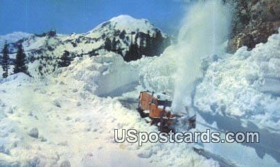 Snow Plow - Mt Rainier, Washington WA Postcard
