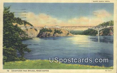 Deception Pass Bridge, WA Postcard      ;      Deception Pass Bridge, Washington