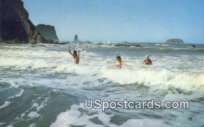 Surf Bathing - Washington Seacoast Postcards, Washington WA Postcard