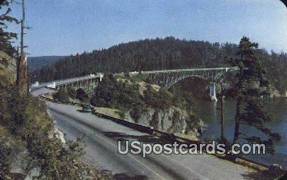 Canoe - Deception Pass Bridge, Washington WA Postcard