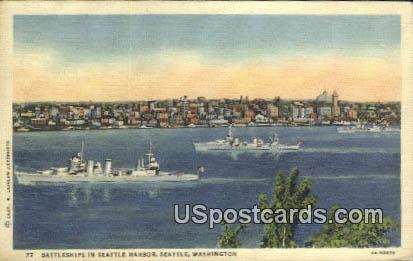 Battleships, Seattle Harbor - Washington WA Postcard
