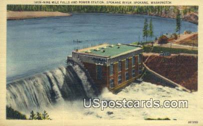 Nine Mile Falls, Power Station - Spokane, Washington WA Postcard