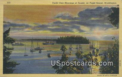 Yacht Club - Puget Sound, Washington WA Postcard