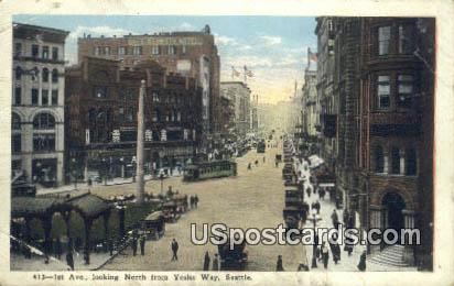1st Avenue, Yesler Way - Seattle, Washington WA Postcard