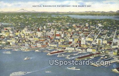 Washington Waterfront, Elliott Bay - Seattle Postcard