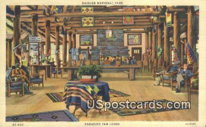 Paradise Inn Lobby - Rainier National Park, Washington WA Postcard