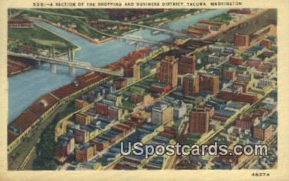 Business District - Tacoma, Washington WA Postcard