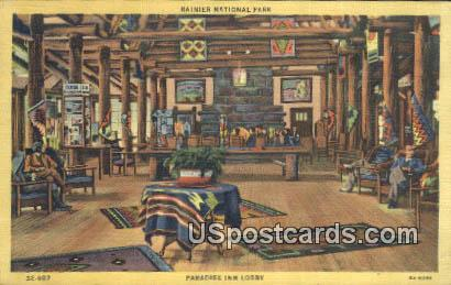 Paradise Inn Lobby - Rainier National Park, Washington WA Postcard