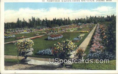 Flower Beds, Sunken Garden - Spokane, Washington WA Postcard