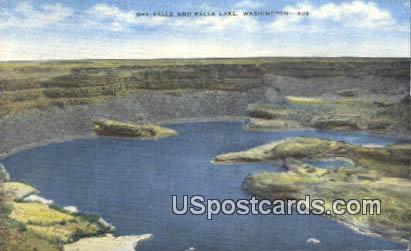 Dry Falls - Falls Lake, Washington WA Postcard