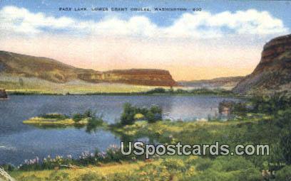 Park Lake - Lower Grand Coulee, Washington WA Postcard