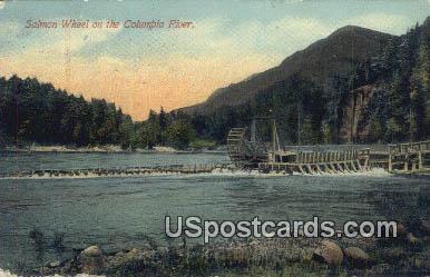 Salmon Wheel - Columbia River, Washington WA Postcard