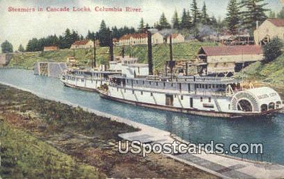 Steamers, Cascade Locks - Columbia River, Washington WA Postcard