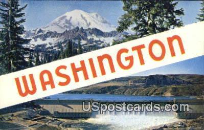 Greetings from, WA Postcard      ;      Greetings from, Washington