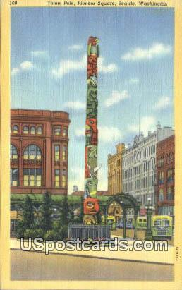 Totem Pole, Pioneer Square - Seattle, Washington WA Postcard