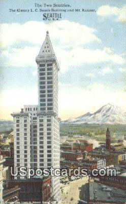 The Two Sentries - Seattle, Washington WA Postcard