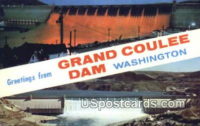 Grand Coulee Dam, WA Postcard      ;      Grand Coulee Dam, Washington
