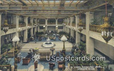 St Lobby, Davenport Hotel - Spokane, Washington WA Postcard