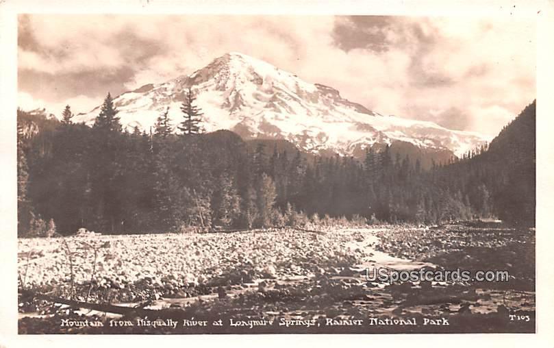 Mountain from Nisqually River - Rainier National Park, Washington WA Postcard