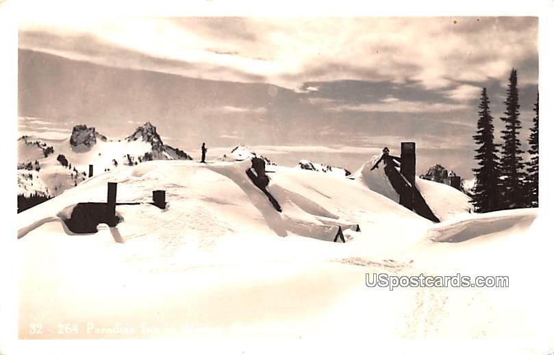 Paradise Inn in Winter - Rainier National Park, Washington WA Postcard