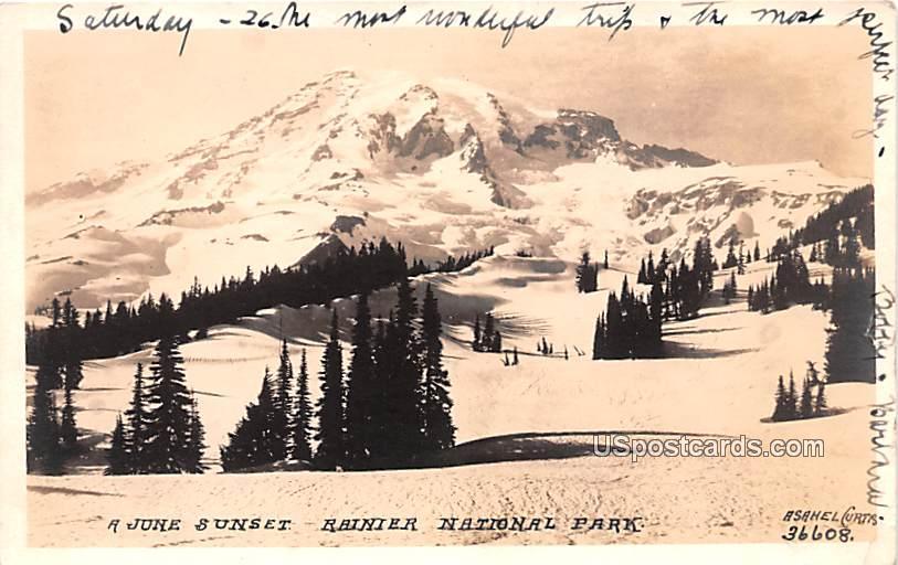 June Sunset - Rainier National Park, Washington WA Postcard