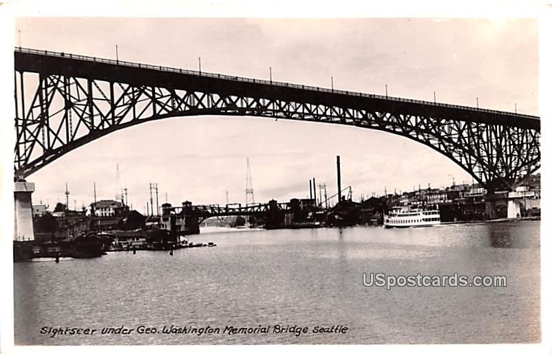 Sightseer Under Geo Washington Memorial Bridge - Seattle Postcard