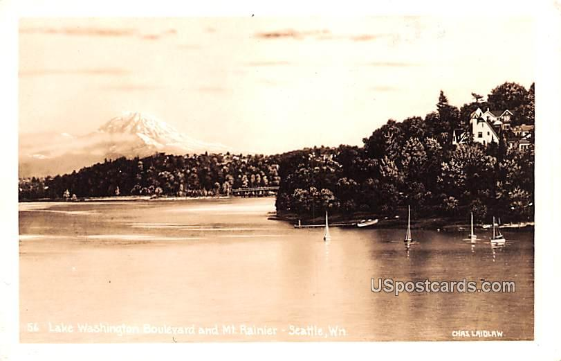 Lake Washington Boulevard and Mount Rainier - Seattle Postcard