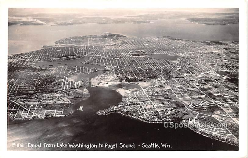 Canal from Lake Washington to Puget Sound - Seattle Postcard