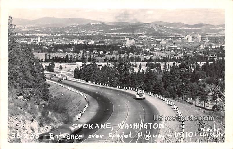 Entrance over Sunset Highway - Spokane, Washington WA Postcard